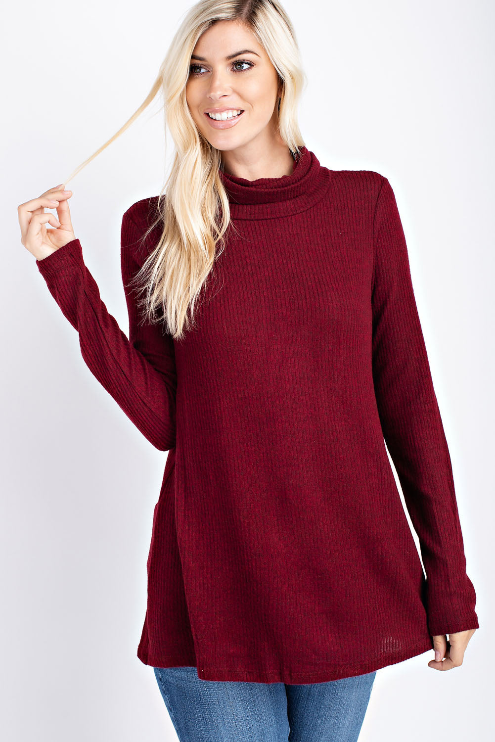 Brushed, two-tone ribbed, turtle neck top