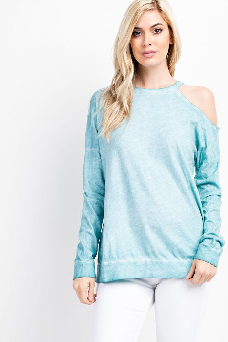 Single Shoulder Loose Fit Top - Seafoam - FrouFrou Couture