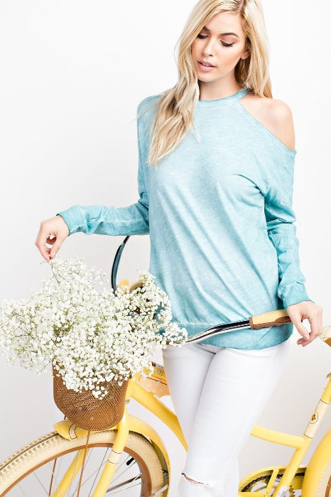 Single Shoulder Loose Fit Top - Seafoam