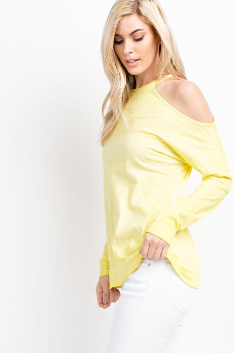 Single Shoulder Loose Fit Top - Yellow - FrouFrou Couture
