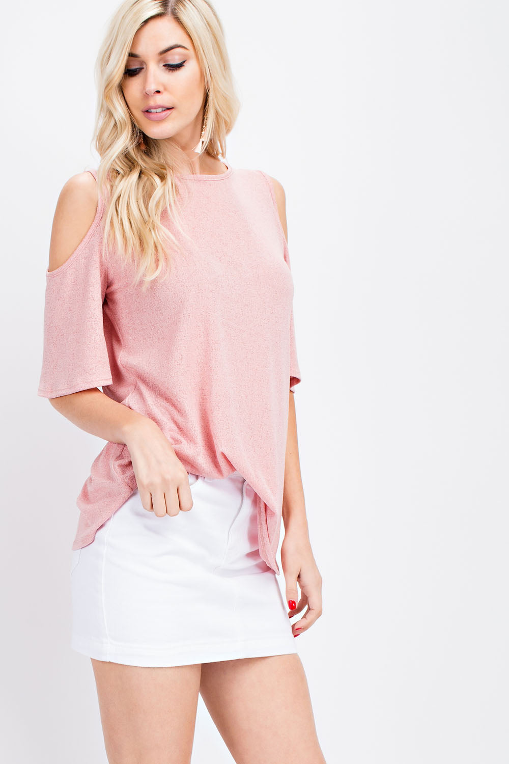 Relaxed Fit Cold Shoulder Top