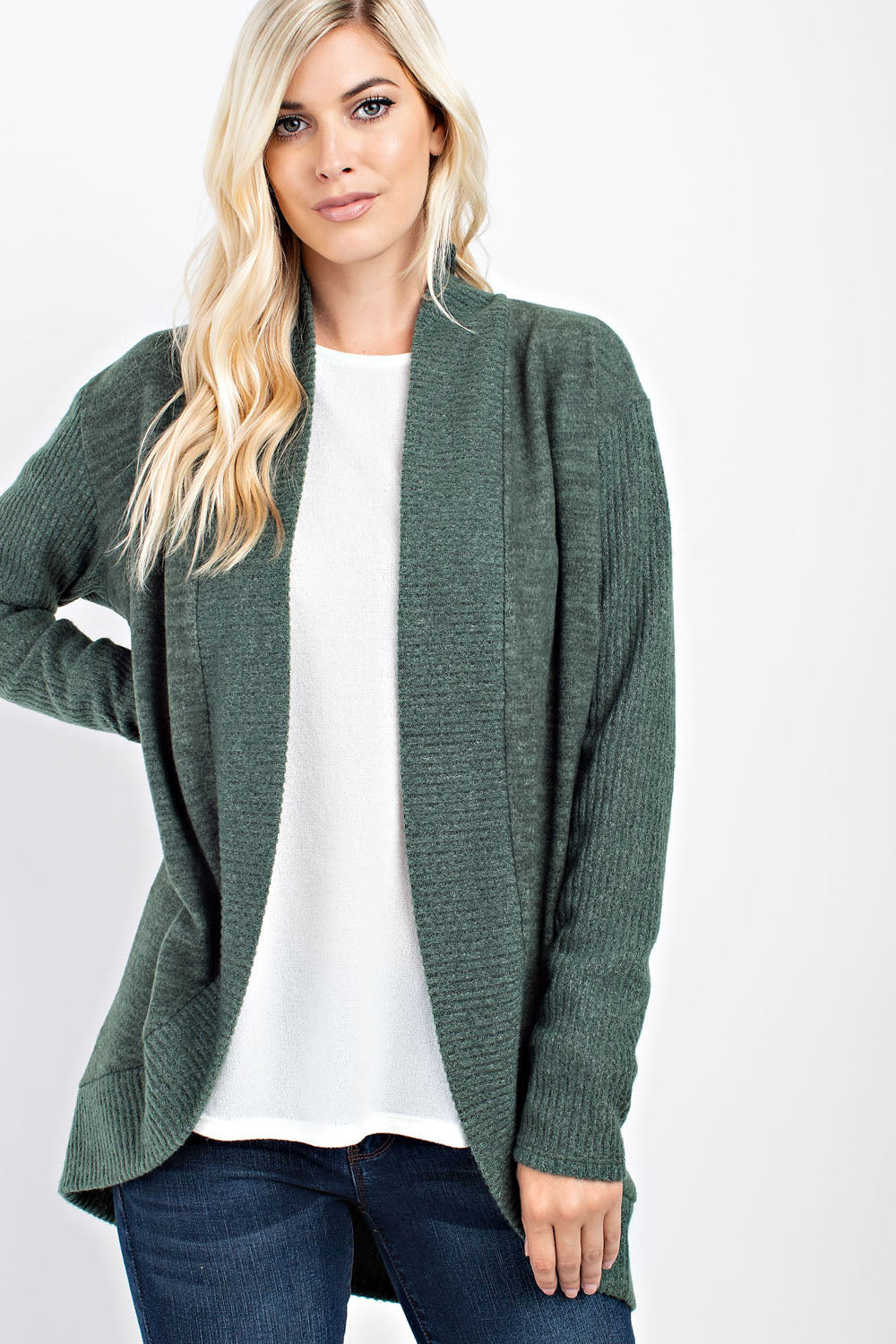 Brushed relaxed fit knit cardigan - Olive - FrouFrou Couture