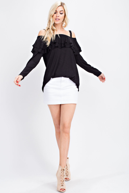Double Ruffle Black Off Shoulder Top - FrouFrou Couture