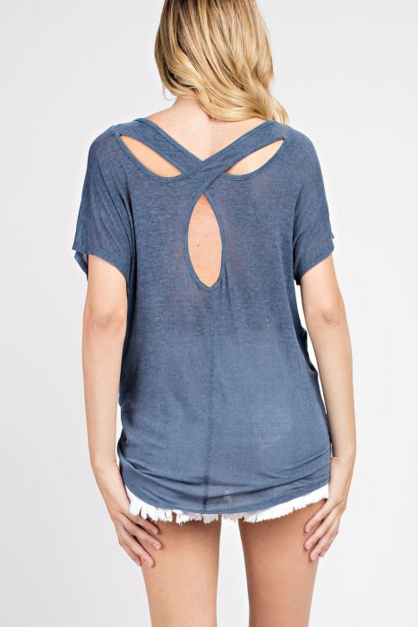Blue Cutout Back Yoga Top