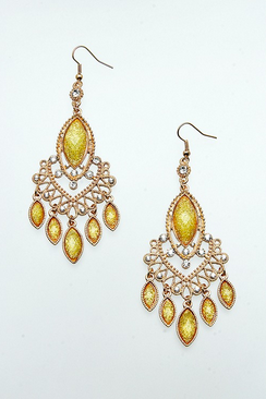 Elegant Canary Yellow Chandelier Earrings - FrouFrou Couture