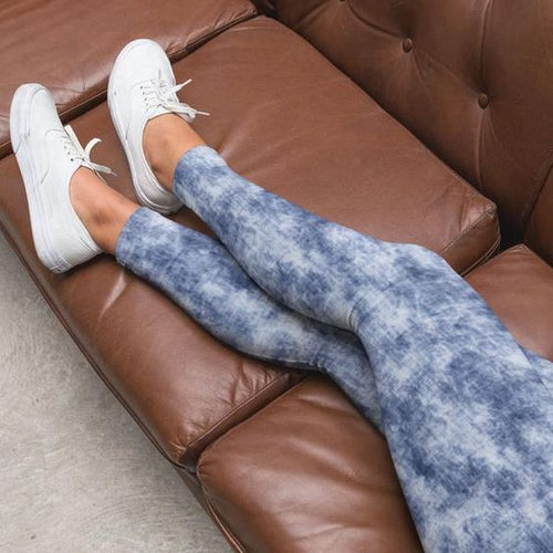 Lounge Luxe Blue Distressed Leggings - FrouFrou Couture