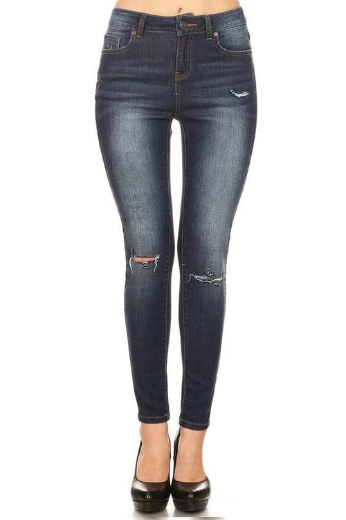 Super Soft Mid Rise Ankle Skinny Jeans - Dark