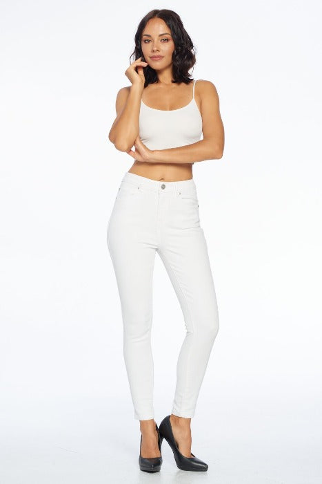 High Rise Cropped Skinny Jeans - White - FrouFrou Couture