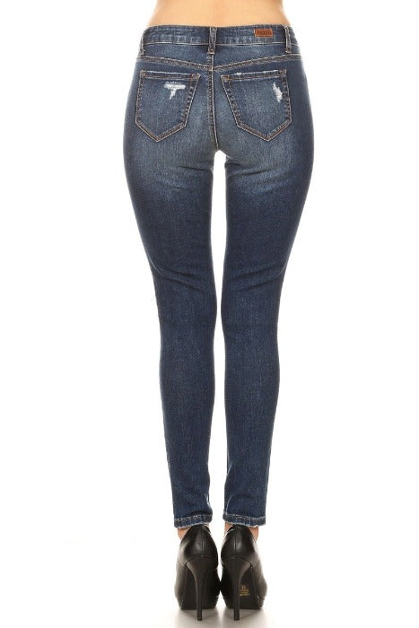 Dark High Rise Skinny Jeans with Destructions