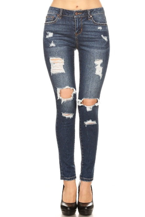Dark Skinny Jeans with Destructions