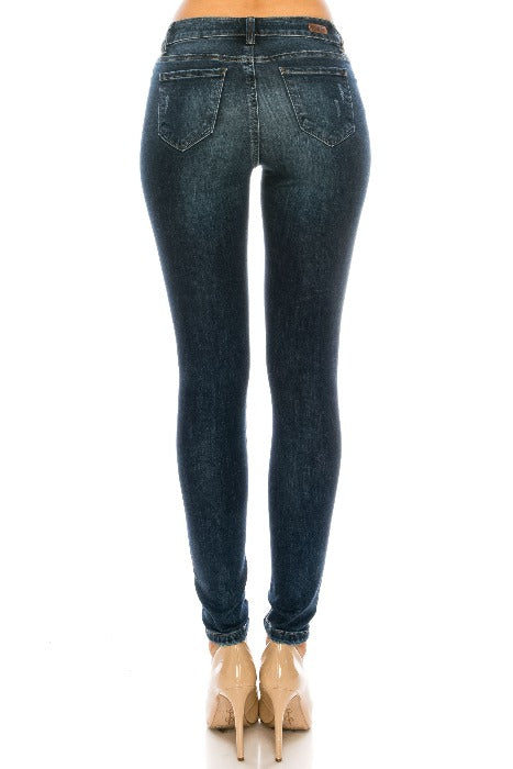 Mid Rise Distressed Ankle Cropped Skinny Jeans