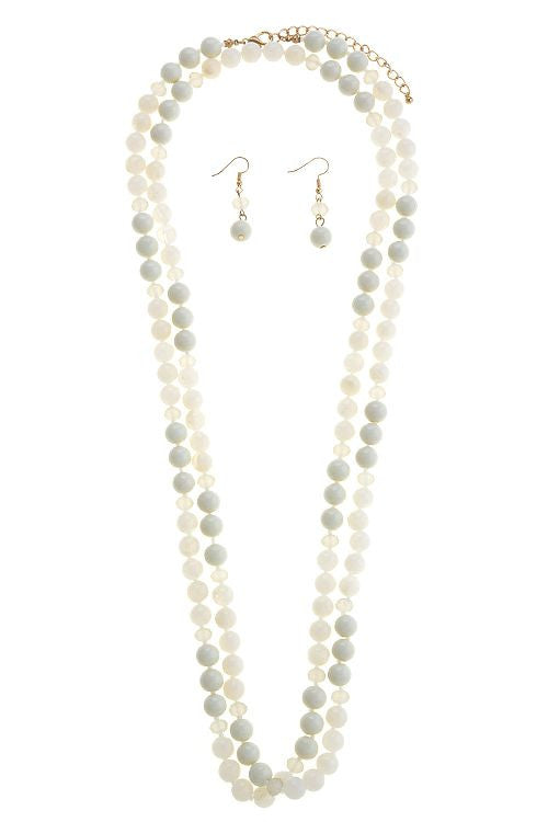 Ivory Long Bead Necklace Set