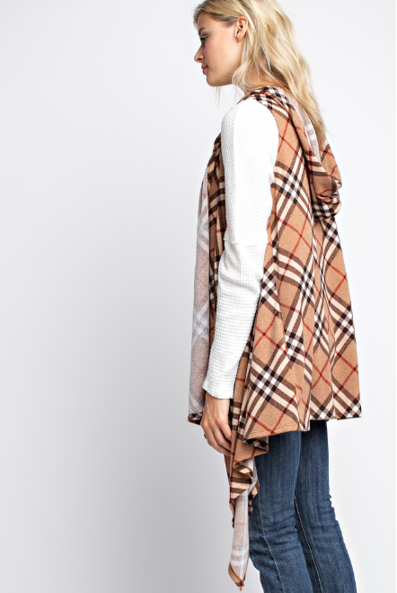 Plaid hacci sleeveless waterfall open cardigan with hoody