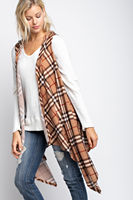 Plaid hacci sleeveless waterfall open cardigan with hoody - FrouFrou Couture