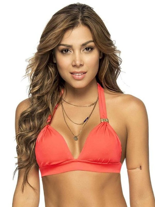 Color Mix Halter Top - Neon Orange