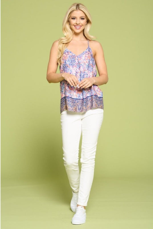 Pink Boho Border Print V-neck Top