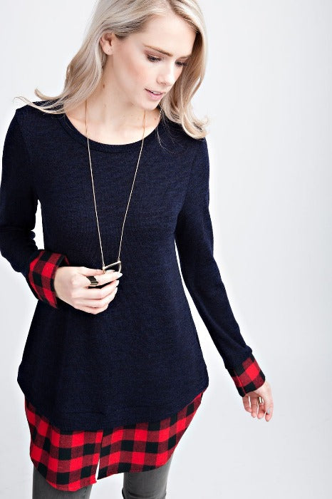 Navy Knit Top with Plaid Layer - FrouFrou Couture