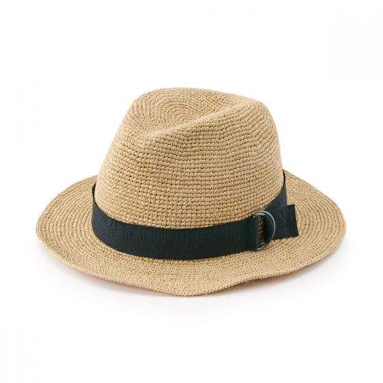 Raffia Fedora Hat Raw White