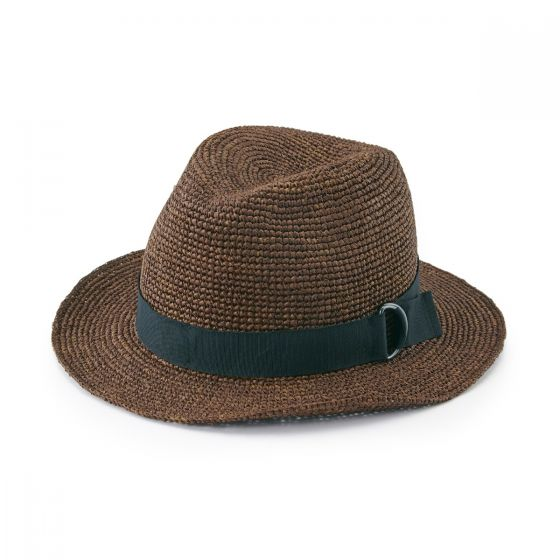 Raffia Fedora Hat Brown