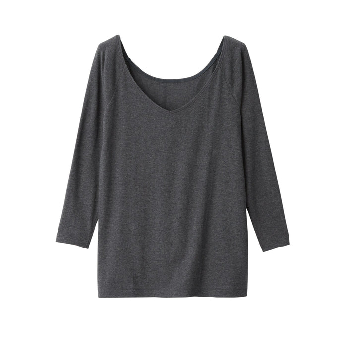 WOMEN'S HEAT GENERATING COTTON V-NECK T-SHIRT