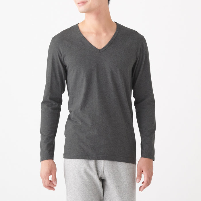 Men's Heat Generating Cotton V-Neck Long Sleeve T-Shirt