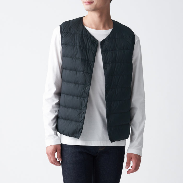 MENS LIGHT WEIGHT POCKETABLE COLLARLESS DOWN VEST