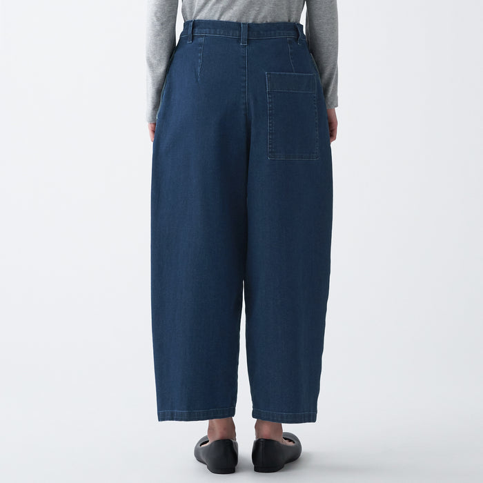 4 Way Stretch Denim Tuck Wide Pants