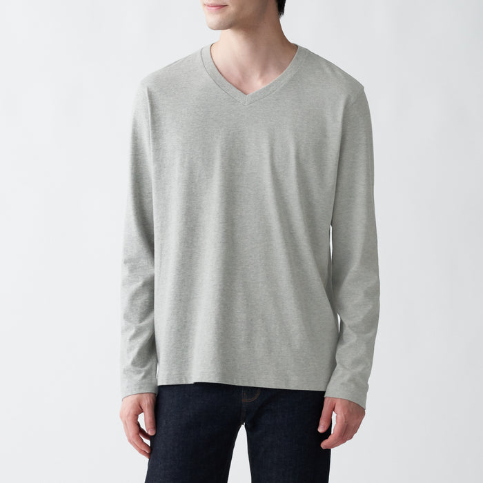 Men's Indian Cotton Jersey Stitch V-Neck Long Sleeve T-Shirt