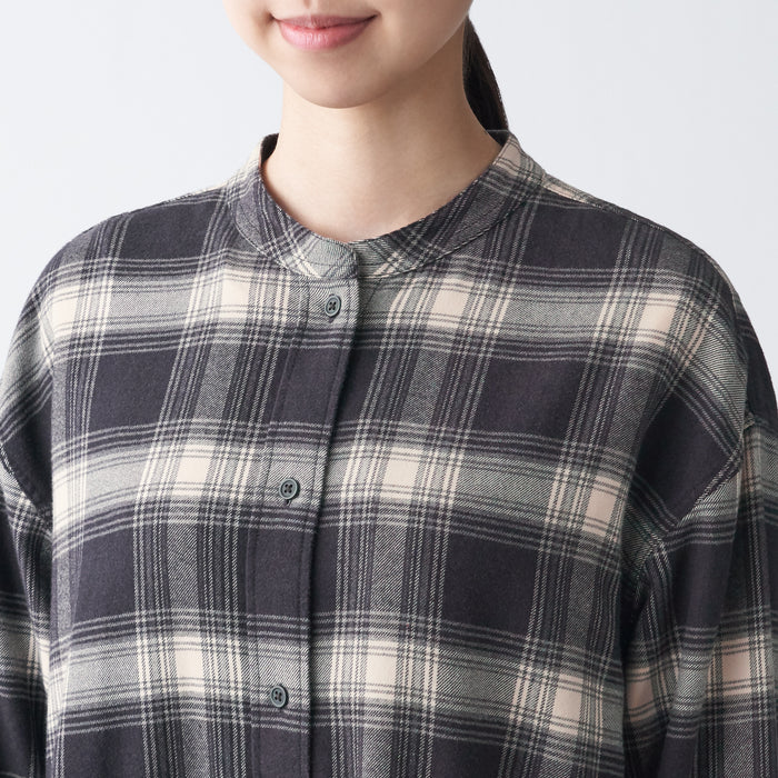 WOMEN'S FLANNEL STAND COLLAR CHECK DRESS