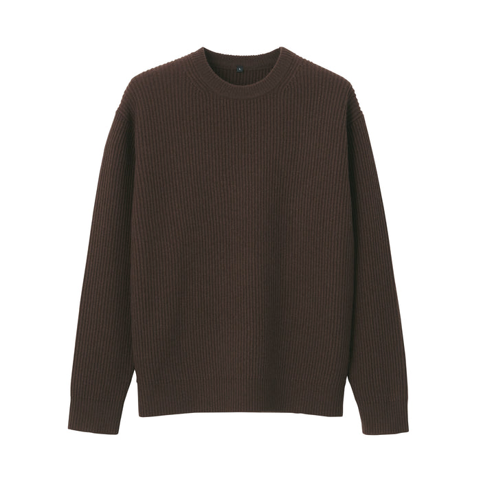Men's Yak Blend Wool Rib Stitch Sweater