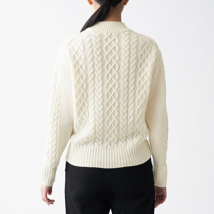 WOMEN'S LESS ITCHY CABLE KNIT SWEATER
