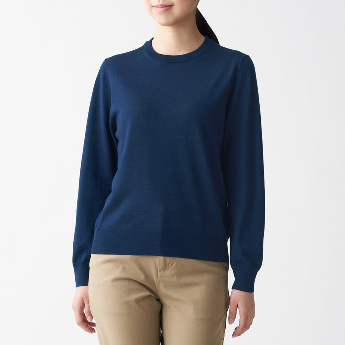 WOMEN'S WOOL SILK WASHABLE CREW NECK SWEATER