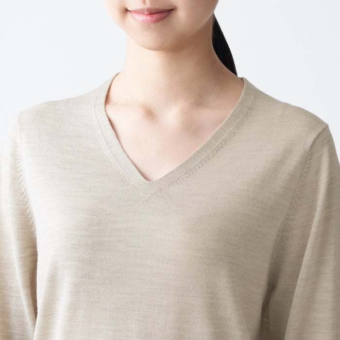 WOMEN'S WOOL SILK WASHABLE V-NECK SWEATER