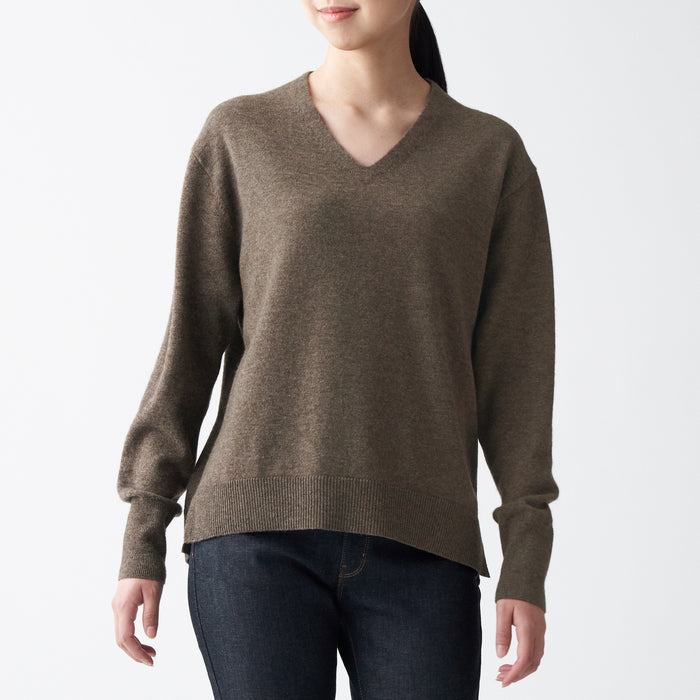 WOMEN'S YAK BLEND WOOL V-NECK SWEATER