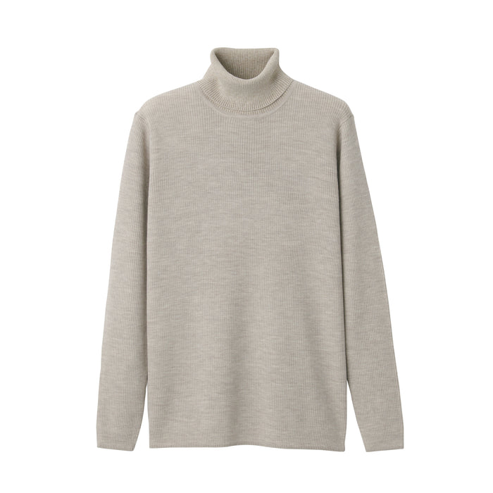 MEN'S LESS ITCHY WASHABLE RIBBED TURTLE NECK SWEATER