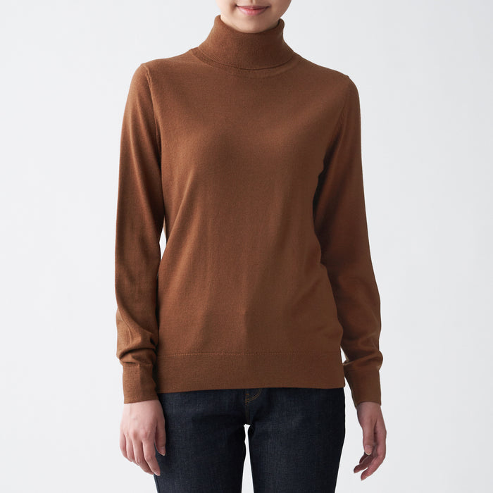 Women's Less Itchy Washable Jersey Turtleneck Sweater