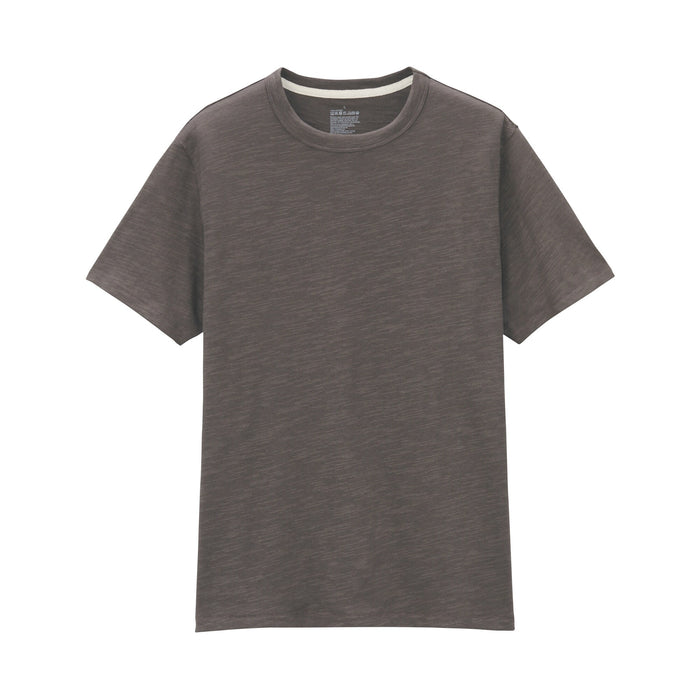 Men's Slub Jersey Stitch Crew Neck Short Sleeve T-Shirt