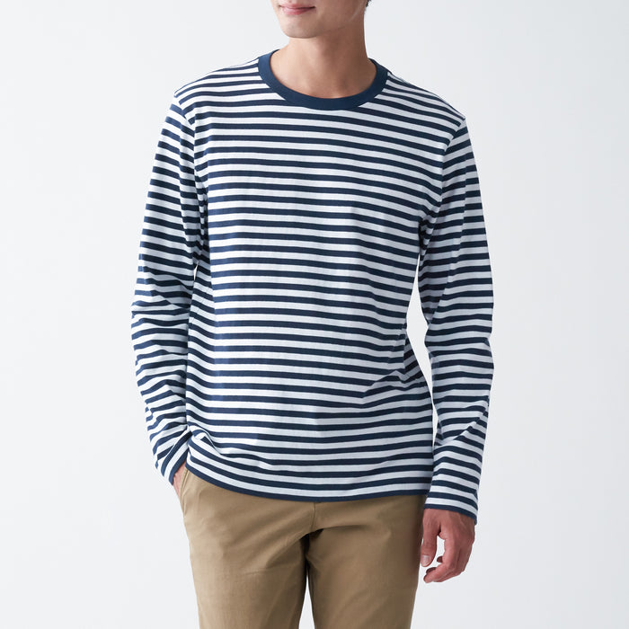 Men's Indian Cotton Jersey Stitch Striped Crew Neck Long Sleeve T-Shirt