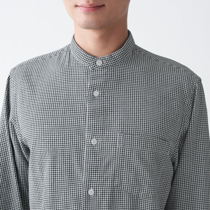 Men's Indian Cotton Double Gauze Stand Collar Check Shirt