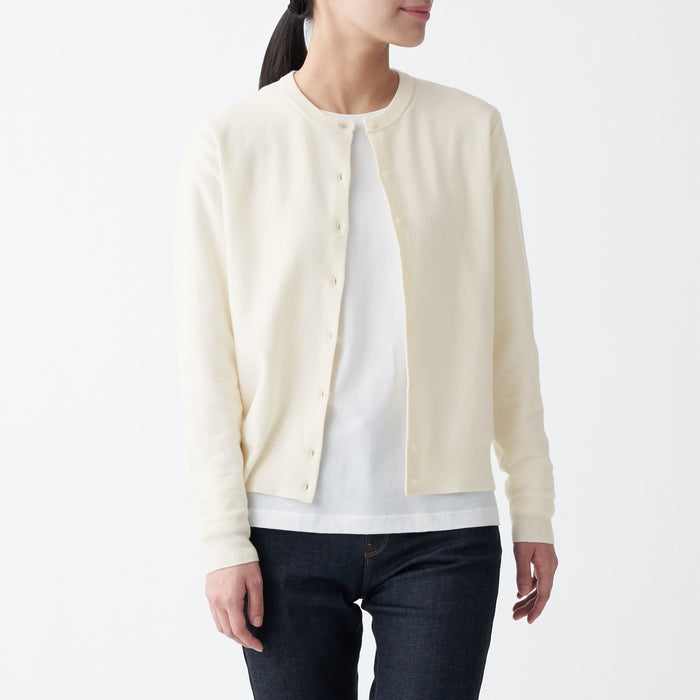 Women's Cotton Silk Crew Neck Cardigan