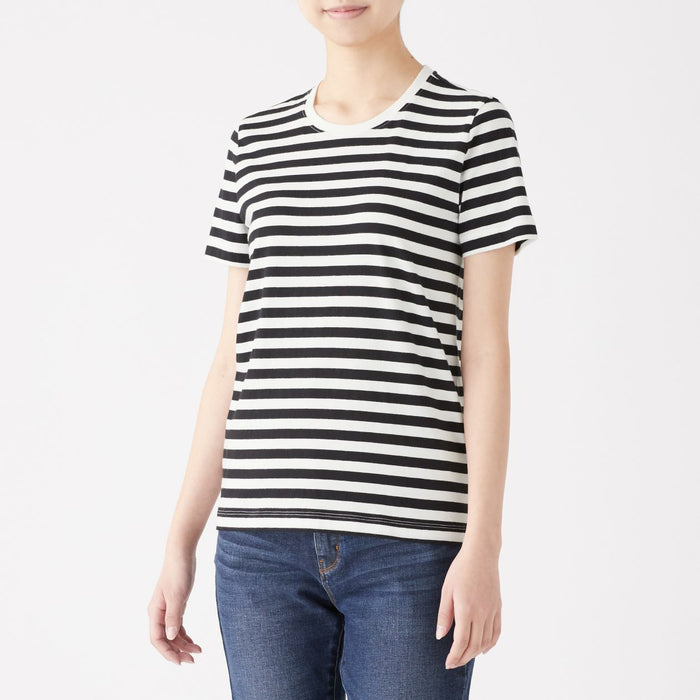 Women's Organic Cotton Striped Crew Neck Short Sleeve