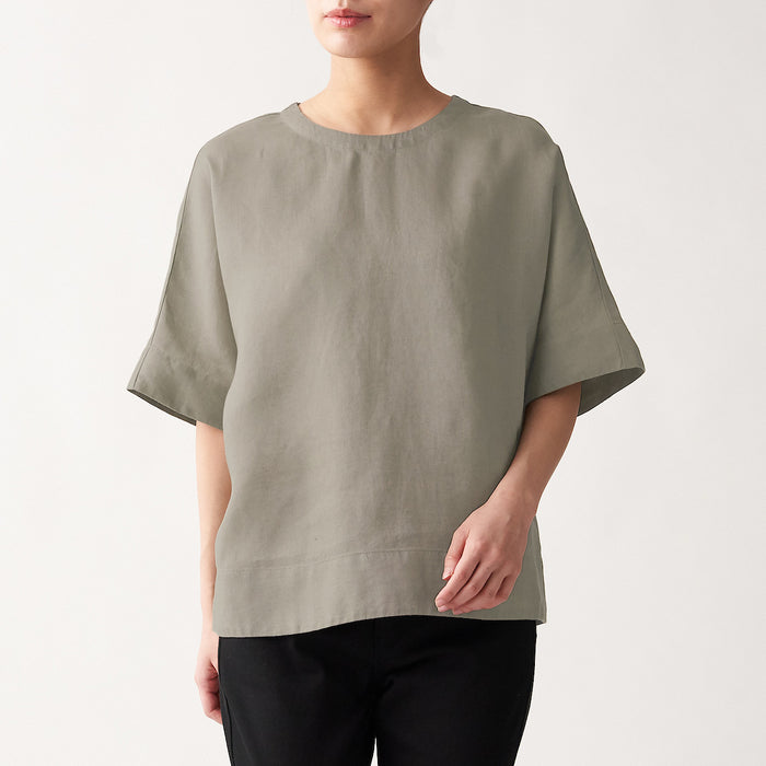 Women's French Linen Washed Short Sleeve Blouse