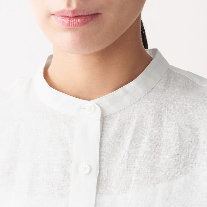 Women's French Linen Stand Collar Shirt