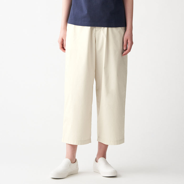 Women's Stretch Densely Woven Cropped Wide Pants