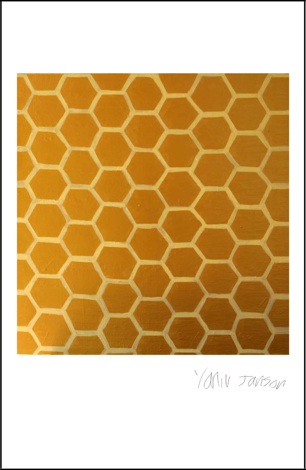 Gold Honeycomb Print
