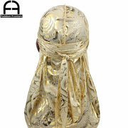 Gold Silky Durag With Flower Print