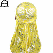 Yellow Silky Durag With Flower Print