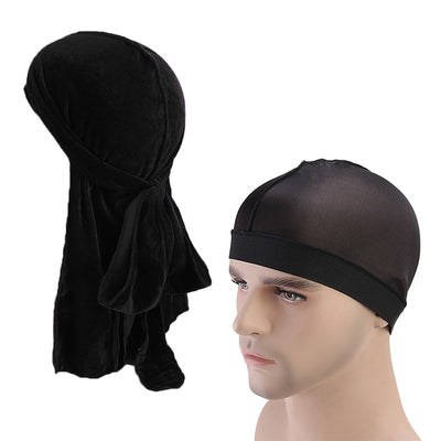Velvet Black Durag & Wave Cap - FRESHCOUPES.