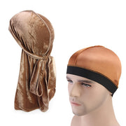 Velvet Khaki Brown Durag & Wave Cap - FRESHCOUPES.