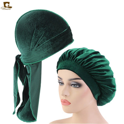 Green Matching Velvet Durag & Bonnet Set - FRESHCOUPES.